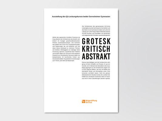 Bürgerstiftung Gerricus, Düsseldorf-Gerresheim | Infoblatt zu einer Kunstausstellung von Schülerinnen und Schülern des Marie-Curie-Gymnasiums, Düsseldorf