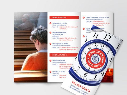 Faltblatt zu diversen Veranstaltungen rund um das Thema Gebet