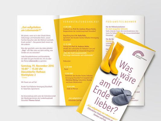 Faltblatt für eine Veranstaltung des Runden Tisches Palliative Versorgung Düsseldorf | ©Andrea Osche – www.a-osche.de