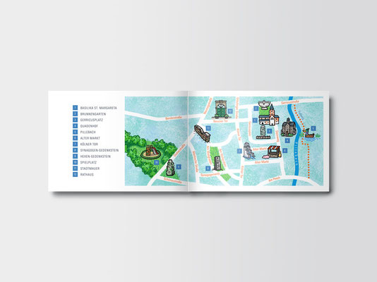 Stadtteilführer für Kinder »Komm mit, wir zeigen dir Gerresheim!«   Innenseiten   Illustration: ©Timon Osche