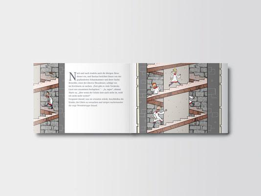 Bürgerstiftung Gerricus, Düsseldorf-Gerresheim | Broschüre für Kinder zum Kirchenschatz von St. Margareta | Innenseiten | ©Illustration: Timon Osche