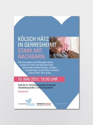 Netz gegen Armut, Düsseldorf | Vortrag Nachbarschaftshilfe | Plakat