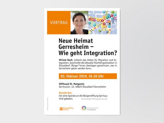 Plakat für einen Vortrag von Miriam Koch