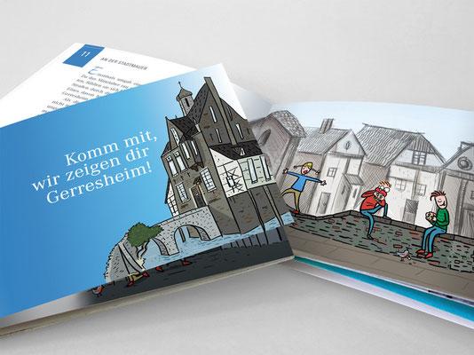 Stadtteilführer für Kinder »Komm mit, wir zeigen dir Gerresheim!« | Titel und Innenseite | Illustration: ©Timon Osche