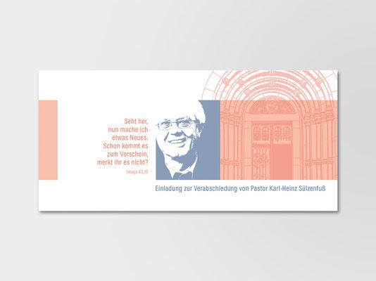 Einladungskarte der Kirchengemeinde St. Margareta in Düsseldorf-Gerresheim zur Verabschiedung ihres Pfarrers | ©Andrea Osche – www.a-osche.de