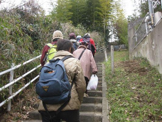 階段を上がって猪子山へ