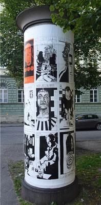 Litfaßsäule am Dachauplatz, 2020, Tuschestift und Acryl.