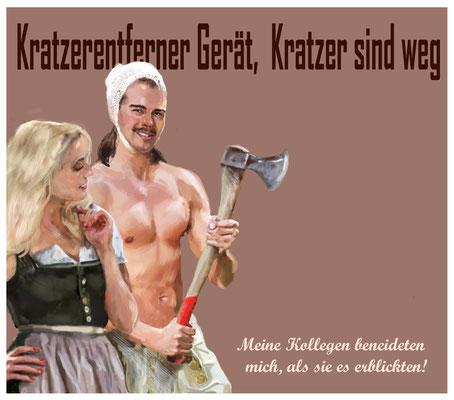 Aus dem Spamordner (Kratzentferner Gerät), 2018, digitale Malerei.