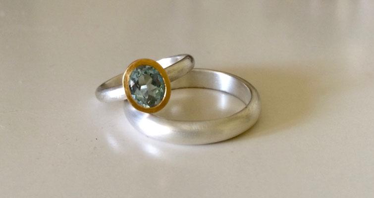 Verlobungsringe Silber mit Aquamarin, vergoldet