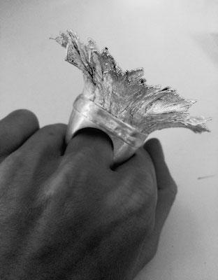 Hut Ring mit galvanisierten Federn Silber