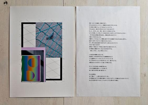 左から《無題》/2015/210×297/デジタルフォトコラージュ、インクジェットプリント、《テクスト「ただ鳩は通りすがっただけ」》/2015/210×297/インクジェットプリント