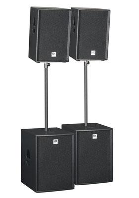 Lautsprecher Verleih, HK Boxen, PX, aktive Lautsprecherboxen, Verleih