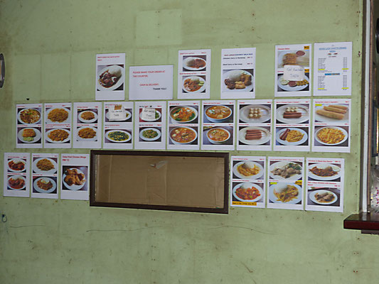 Die Speisekarte hängt an der Wand