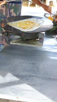 auf der heißen Platte gebacken,