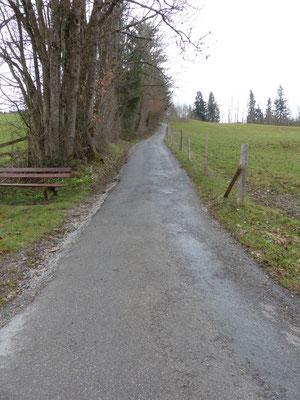 Der steile Fußweg hinunter nach Oberstaufen