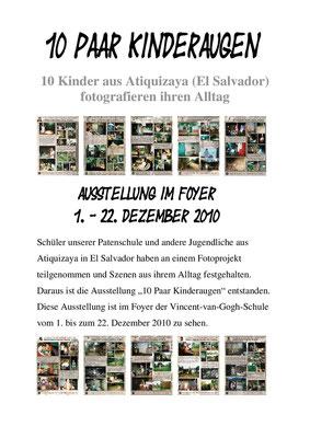 "Ankündigung der Ausstellung ""10 Paar Kinderaugen"" 2010"