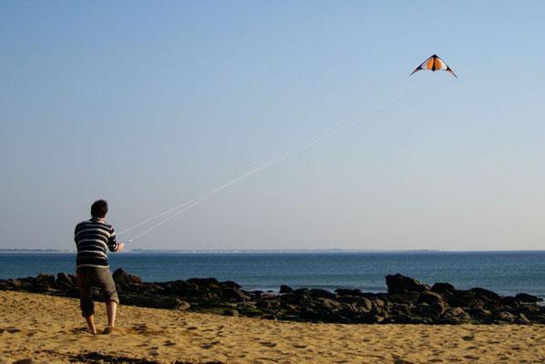 Cerf volant sur la plage d'Erdeven