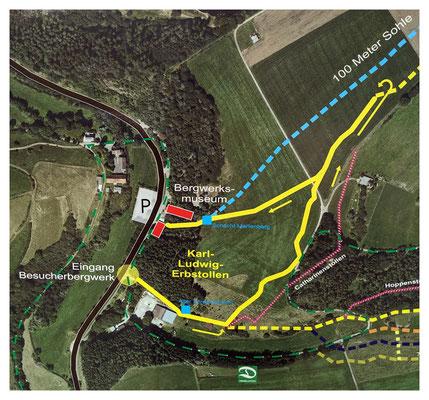 Bereich des Besucherbergwerkes Grube Christiane, der Besucherweg ist gelb markiert