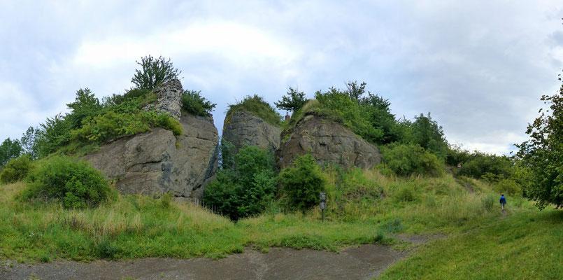 """Blick auf den durch den Basaltabbau förmlich """"zersägten"""" Gipfel des Wellisch"""