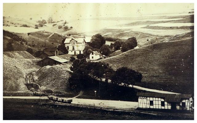 Tagesanlagen der Grube Christiane vor der Stilllegung 1917 (Quelle: Darstellung im Bergbaumuseum Grube Christiane)