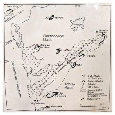 Lage der wichtigsten Eisenerzvorkommen an den vulkanischen Hauptschwellen nördlich von Adorf (Quelle: Darstellung im Bergbaumuseum Grube Christiane)