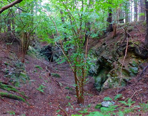 Blick in den westlichen Kalksteinbruch mit zwei kleinen Abbaukammern.