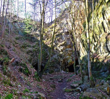 """Blick aus dem """"Fuchsbruch"""" auf die Zwischenwand in welcher der """"Gaisergang"""" den Bruch in N-S-Richtung quert."""