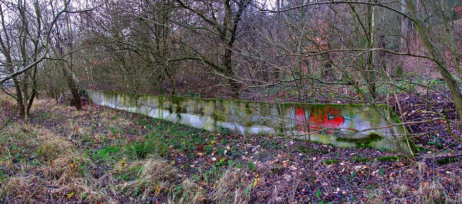 Betonmauer der ehemaligen Verladerampe