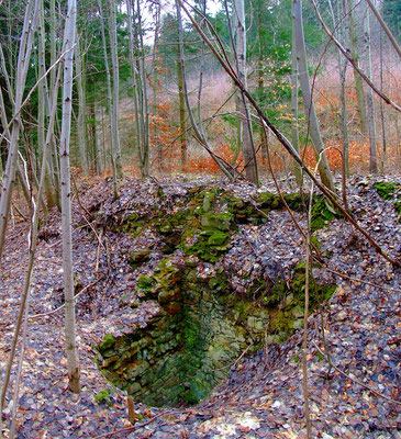 Mauerreste im Bereich des ehemaligen Pferdegöbels / Grubenamts. Hier mündete die Druckluftleitung der Bewetterung.