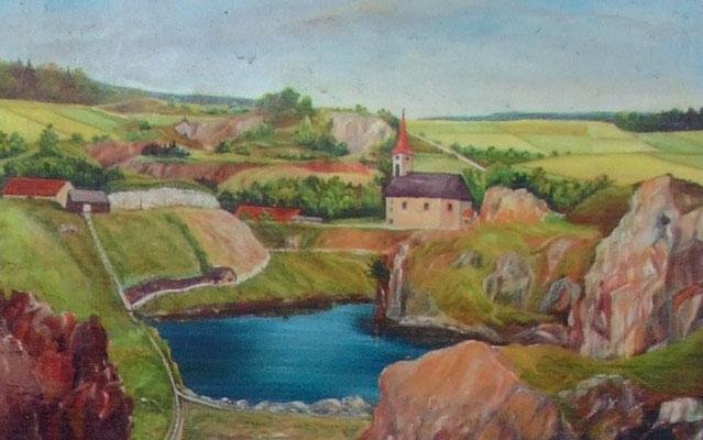 Eine Zeichnung aus der Zeit um 1950 verdeutlicht die romantisch-schroffe Szenerie die sich in Kalk-Podol den Besuchern bot.