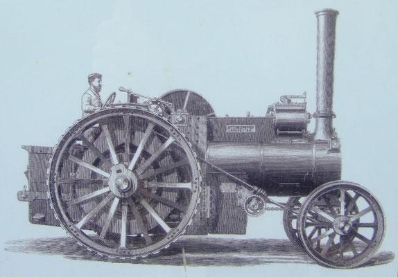 Das von der britischen Firma Aveling konstruierte Locomobile. (Quelle: Infotafel vor Ort)