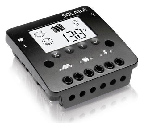SOLARA mit modernen vierstufigen PWM-Ladeverfahren, Temperaturkompensation, externen Sensor und Überladeschutz garantiert optimale Ladung. Die große sehr gut ablesbare LCD-Anzeige zeigt u. a. die Energieflüsse und den Ladezustand der Batterien an.