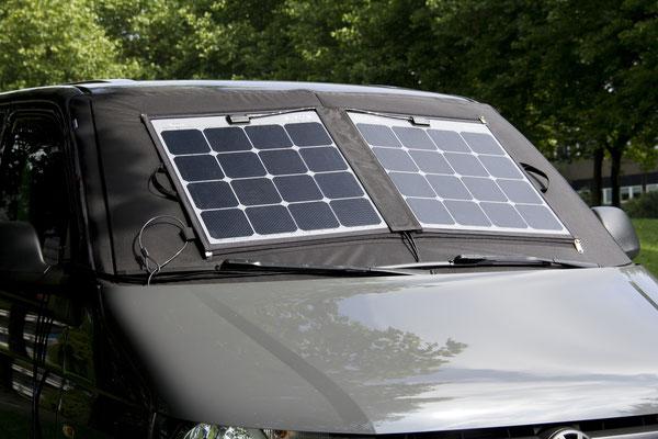 Mobile Technologie von SOLARA - Made in Germany. Solarmodule zur Verschattung des VW-Bus, T5, T6 Camper mit hochleistungs Solarzellen für maximalen Wirkungsgrad.