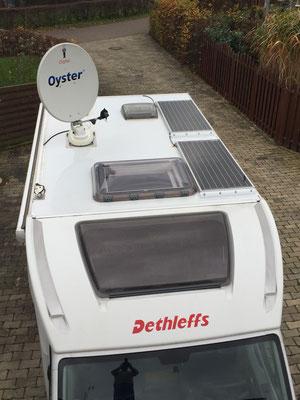 SOLARA Solaranlage mit je einem Solarmodul auf dem Dach. Für jedes Wohnmobil, Reisemobil bestens geeignet. Zum Nachrüsten einfach auf das Dach geklebt. Die Solarmodule haben den Test bestanden. Solaranlage mit viel Leistung (Watt) für mehr Strom unterwegs