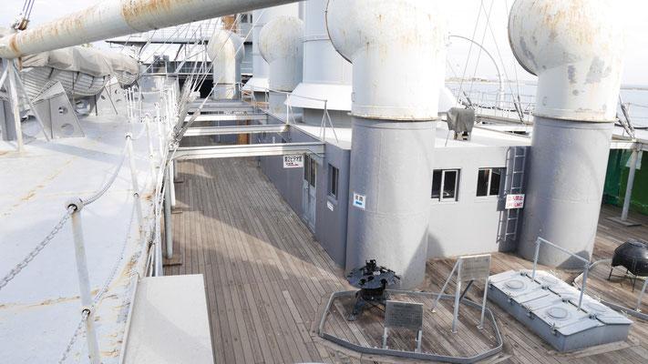 戦艦三笠の上甲板。