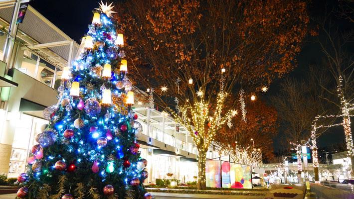 ショッピングモールには、こんなクリスマスツリーも。