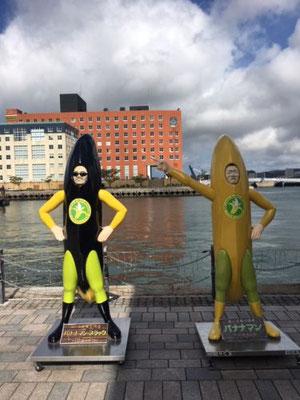バナナマンとバナナマン・ブラック。バナナマンは、「愛と正義の使者」で、バナナマン・ブラックは、「エコと節電の使者」だそうです。