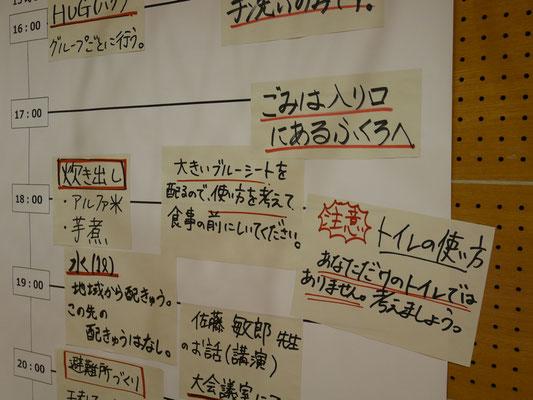 タイムスケジュール表には、共有すべき情報が次々に追加されていきます。