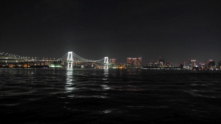 豊洲市場に隣接する豊洲ぐるり公園から撮影したレインボーブリッジ。実にフォトジェニックな橋です。