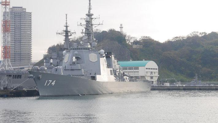 イージス艦。艦番号174は、海上自衛隊の「きりしま」です。