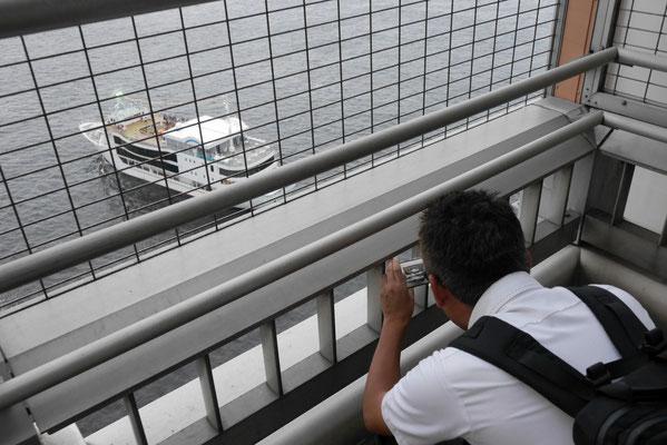 ちょうど橋下を通過する観光船を撮影する太田。