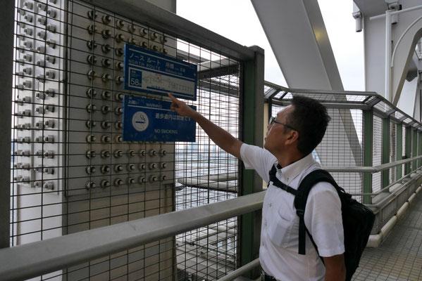 遊歩道の途中には、現在地の高さを示す看板が設置されています。