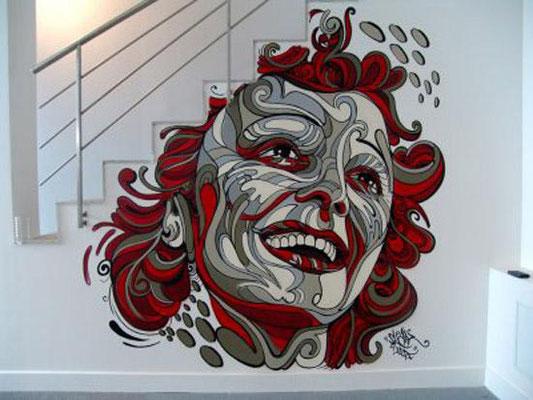 shaka street art escalier déco intérieure edith piaf