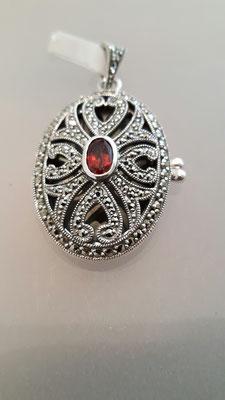 Fotomedaillon Markasit Granat Silber oval groß