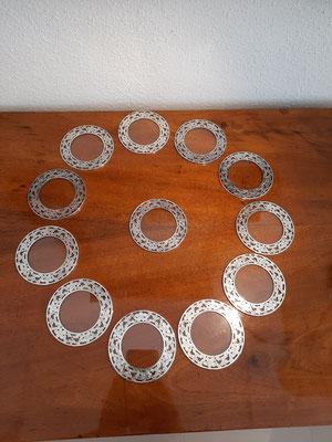 "overlay Coaster Untersetzer 925er Sterling Silber 3"""