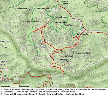 Auerhahnsteig Übersicht, Quelle Mapy.cz