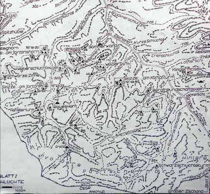 Karte aus dem Kletterführer Sächsische Schweiz Ostteil 1981.