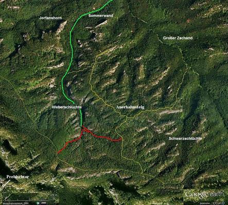 Weberschlüchte, rot die gesperrten Teile, durch den linken südwestlichen Teil führte früher die Hauptwanderroute (Quelle: Google Earth)
