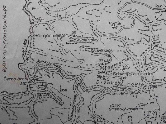 Karte aus dem DDR-Kletterführer Böhmische Schweiz 1979 mit dem Gebiet um Käs und Brot, hier ist sogar die Drachenstiege noch als Pfad eingezeichnet