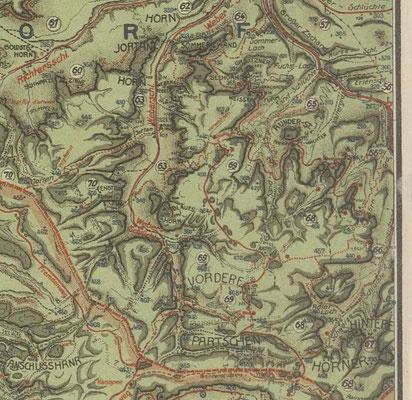 Auerhahnsteig, Karte von Johannes Schulz 1928
